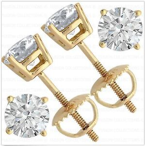 2Ct-Real-14K-Yellow-Gold-ScrewBack-Round-Brilliant-Cut-Solitaire-Earrings-Studs