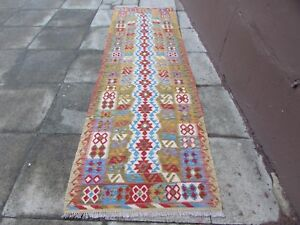 Kilim-Old-Traditional-Hand-Made-Afghan-Oriental-Green-Long-Kilim-Runner-305x91cm