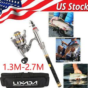 Lixada Telescopic Fishing Rod Reel Combo Portable Organizer Pole Carry Bag Set