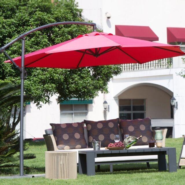 Offset Patio Umbrella Red Outdoor, Large Tilting Patio Umbrella