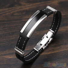 JZ Fashion Mens Black Silver Stainless Steel Rubber Bracelet Bangle B84u