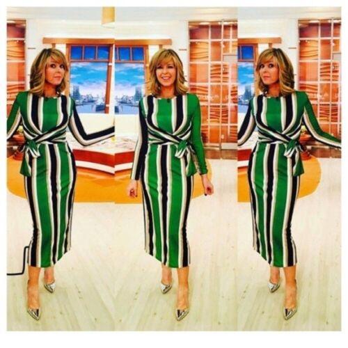 Bloggers Aso Zara Striped Uk 8 034 5580 Dress Celebs Midi Small S Xw646qU