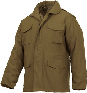 Image is loading Coytoe-Brown-Military-M-65-Field-Coat-Army- c0cad8c15d9
