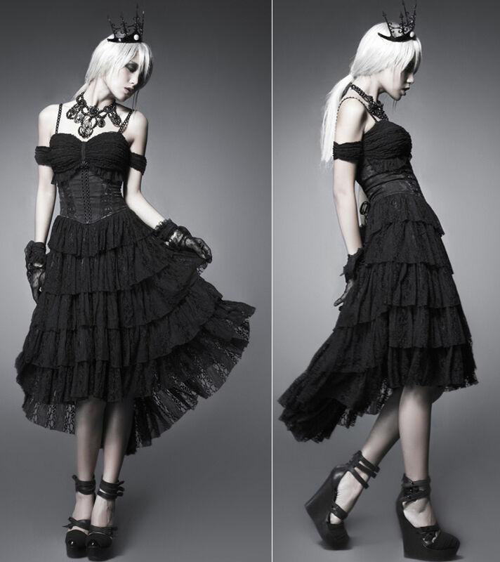 Robe longue épaule nue gothique lolita fashion volants dentelle traîne PunkRave