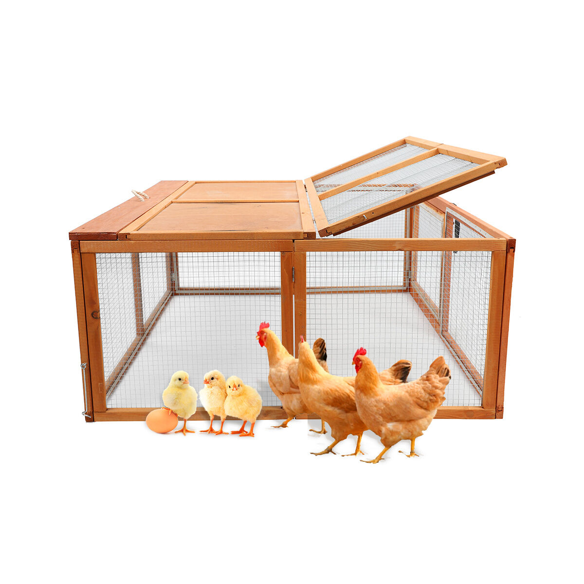 Wooden Chicken Coop Rabbit Hutch Pet Cage Wood Small Animal Poultry ...