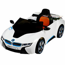 bmw i8 12v ride on kids battery power wheels car rc remote white   ebay