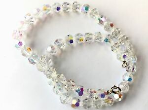 Vintage-Glittery-Aurora-Borealis-Faceted-Crystal-Glass-Bead-Necklace
