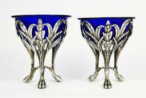 Fine-ITALIAN-STERLING-SILVER-NATURALISTIC-SALT-CELLARS-20th-Century