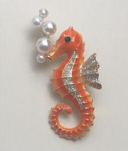 Vintage style  seahorse brooch  & pendant in enamel on metal