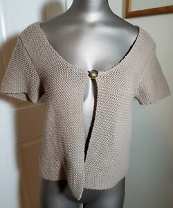 38797dbe18 Image is loading BANANA-REPUBLIC-WOMENS-TAN-SHORT-SLEEVE-CARDIGAN-SWEATER-