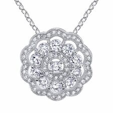 "Cluster Flower CZ Sterling Silver Pendant Necklace with 18"" Chain, hidden bail"