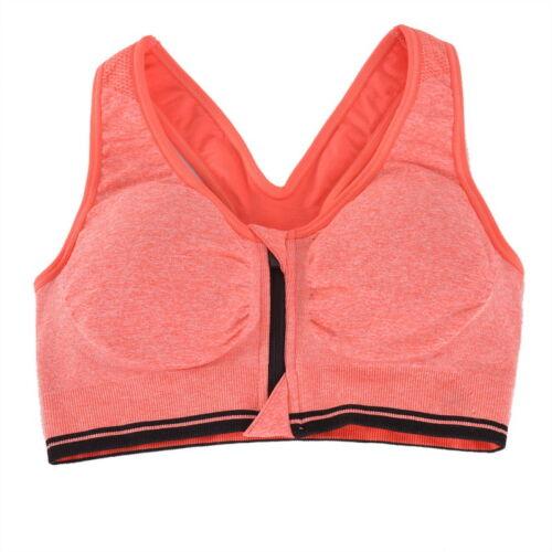 US Women Padded Sports Bra Yoga Gym Front Zip Workout Jogging Vest Shockproof LP