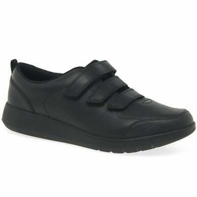 Clarks Scape Sky Youth Black Leather Boys Rip Tape School Shoes
