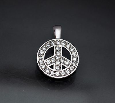 14K Solid White Gold Round Created Diamond Peace Sign Charm Pendant 1.5TCW