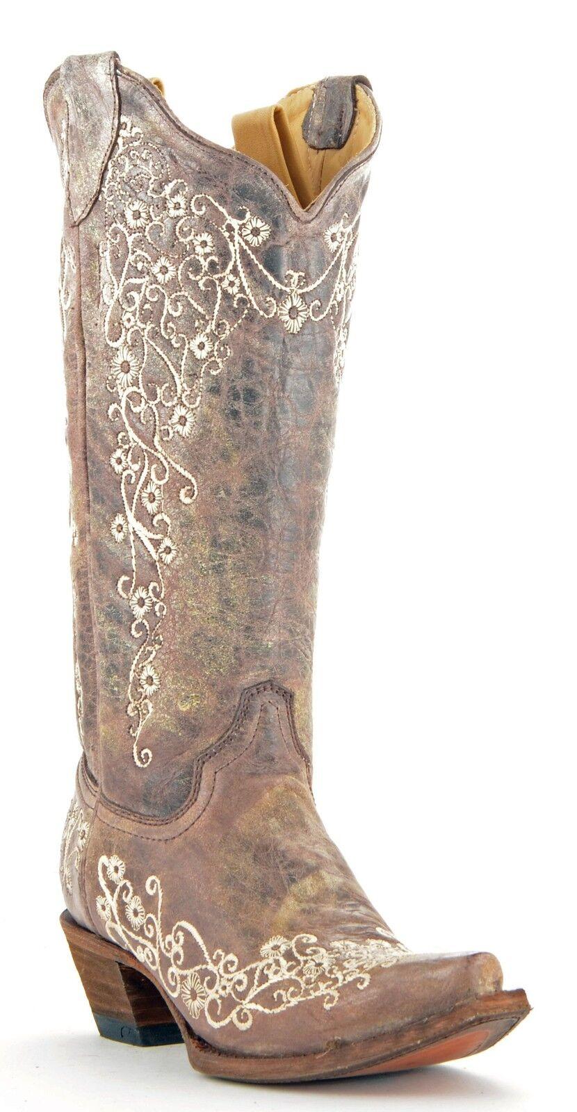 Damenschuhe Corral Western Boot Boot Western Distressed Braun Crater Bone Embroidery SnipToe A1094 688698
