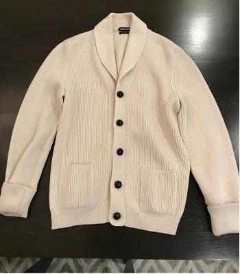 Tom Ford Ivory Shawl Collar Cardigan Knitted Steve Mcqueen Sz It 48 Wool Ribbed Ebay
