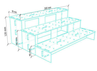 for Bandai Tamashii /& Figma stands Clear Acrylic 3 Tier Display Shelf BL-3STD
