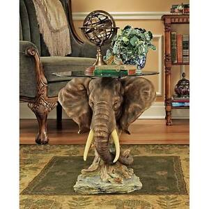 Image Is Loading Beveled Glass Top Elephant Sculpture African Safari Trophy