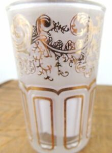 Juice-Glasses-Set-of-6-Mid-Century-Modern-Clear-Frosted-Gold-Retro-6-Oz