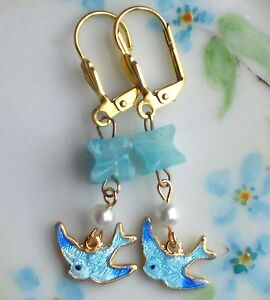 #1234E Vintage Bluebird Earrings Guilloche Enamel Gold Plated Dangle Bird Pearl