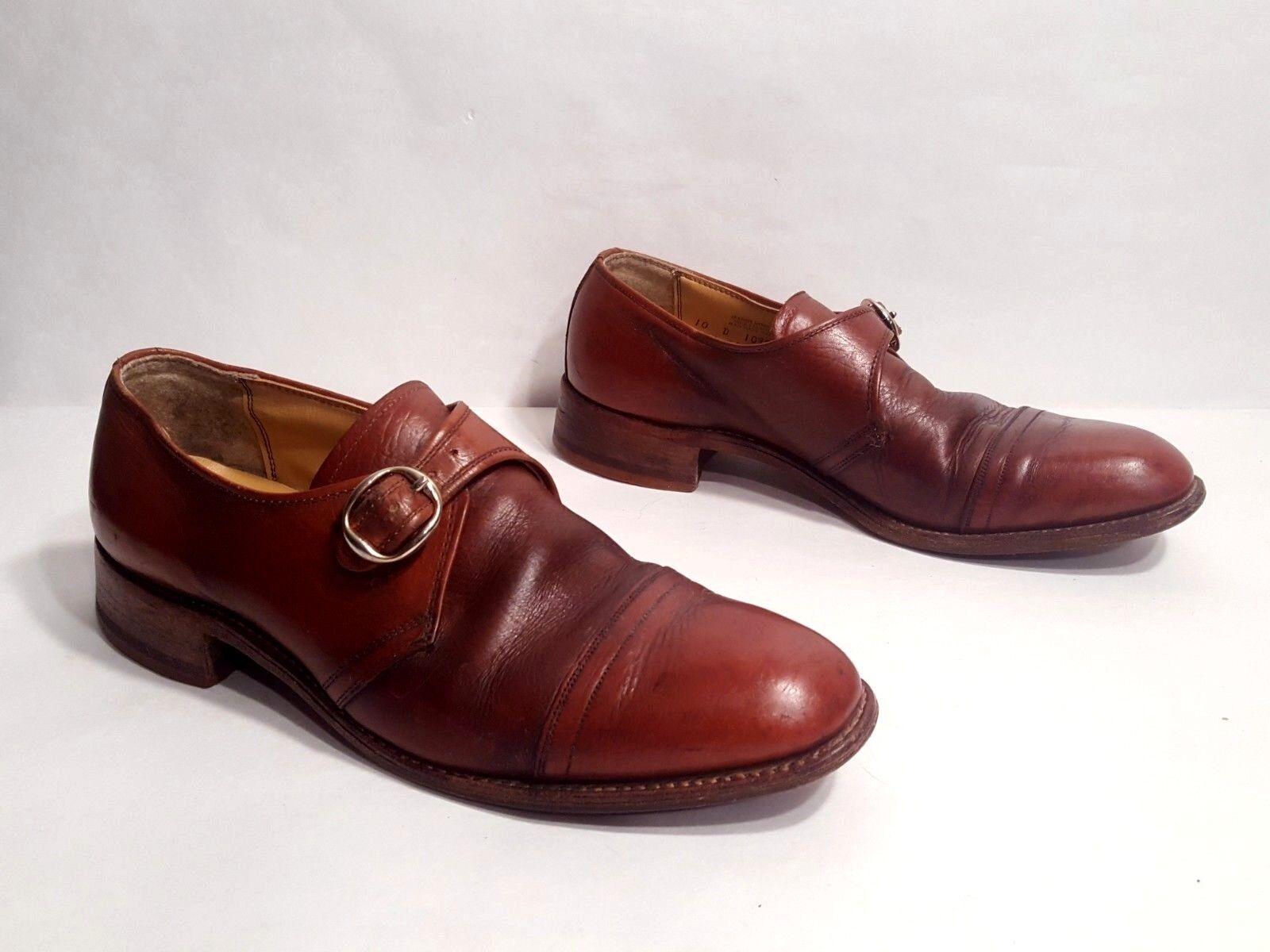 Vtg 1950s Florsheim Mahogany Leather Monk Strap Buckle Cap Toe Loafers scarpe 10D