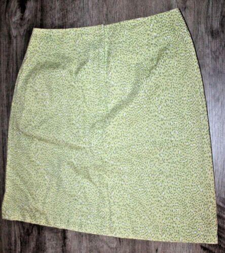Talbots Petites Size 8 Lime Green Leopard Print Sk