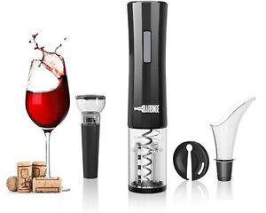 BarBinge Wine Opener Set 4-in-1 Cordless Electric Automatic Corkscrew, Black
