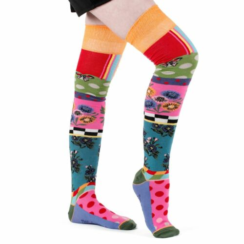 Dub /& Drino France Ladies Over The Knee Socks Funky Dots Stripes Made in Italy