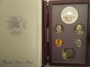 1984 Prestige Proof Set US Mint COA 6-coin w// Olympic Silver Dollar