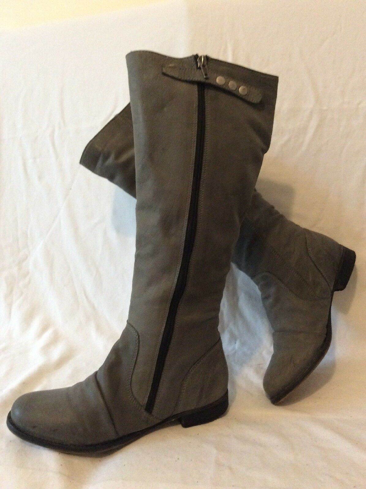 Red Herring shoes-Licious  Grey Knee High Leather Boots Size 4