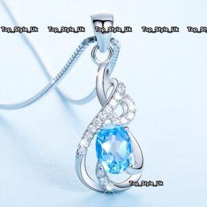 BLACK FRIDAY DEALS Blue Diamond Silver Necklace Xmas Gifts For Her Women Mum U06 - -, United Kingdom - BLACK FRIDAY DEALS Blue Diamond Silver Necklace Xmas Gifts For Her Women Mum U06 - -, United Kingdom
