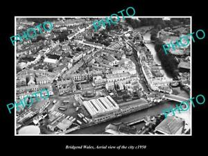 OLD-LARGE-HISTORIC-PHOTO-OF-BRIDGEND-WALES-UK-AERIAL-VIEW-OF-THE-CITY-c1950