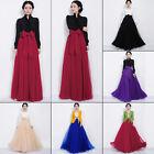 Women Full Skirt Elastic High Waist Long Maxi Dress Tulle Mesh Pleasted Bowknot