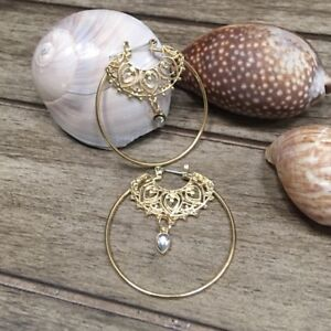 Gold-Exotic-Scroll-Hoop-Big-Round-Boho-Earrings-Unique-NEW-Jewelry-US-Seller