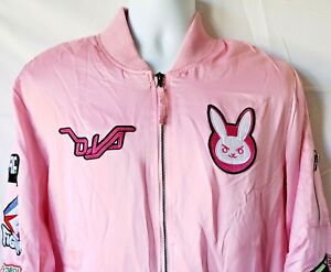 3f0166cdf Details about Overwatch Hana Song D.Va Satin Bomber Jacket Pink Embroidered  Patches Sz XL