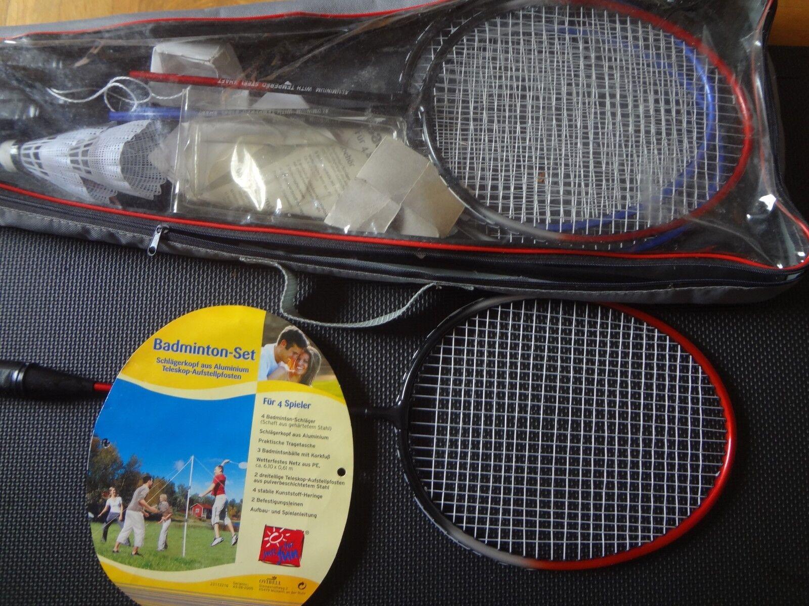 Sports Badminton Schläger Netz und Bälle Federball Komplett Set 4 Spieler
