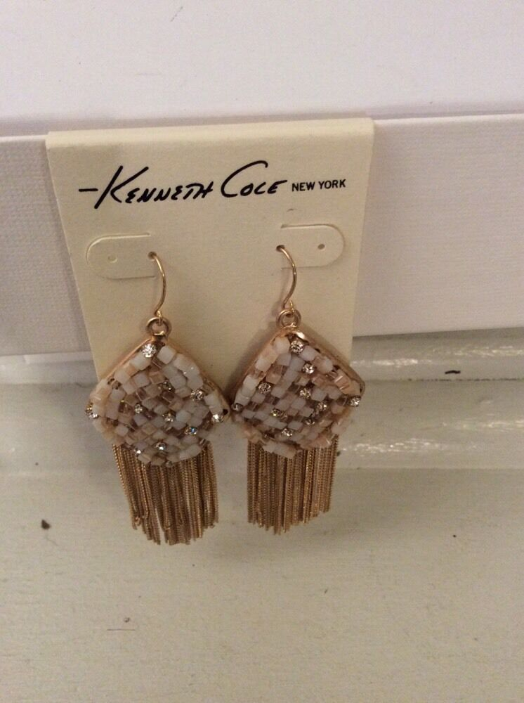 ,Kenneth Cole Fringe WorthyWoven Faceted-Bead Earrings #36F