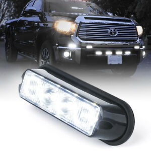Vehicle Strobe Lights >> Details About White 4 Led Grille Emergency Warning Vehicle Strobe Lights Side Marker Deck Dash