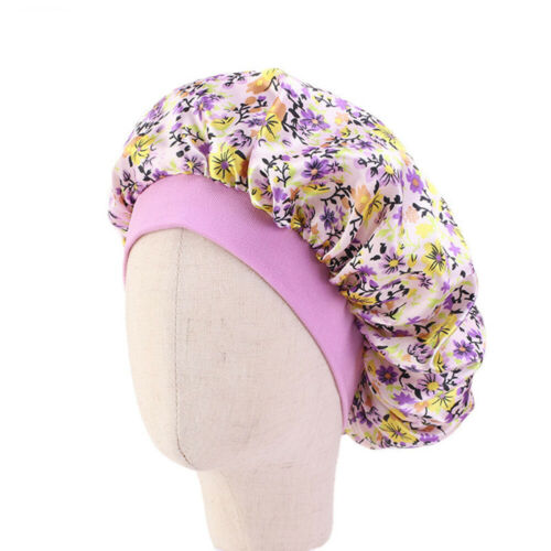 Kids Satin Night Sleep Cap Hair Care Bonnet Hat Head Cover Wide Band Adjust Caps
