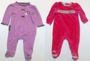 d69f720602a8 Small Wonder Infant Girls Footed Sleepers 2 Choices Size 3-6 Months ...
