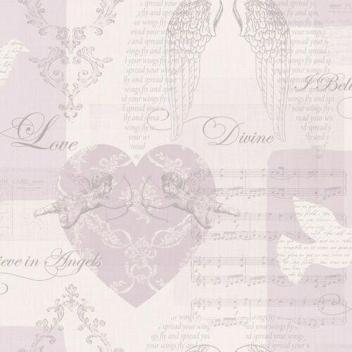 Cherub Angel Love Lilac Heather Wings Hearts Metallic Silver Wallpaper 663401