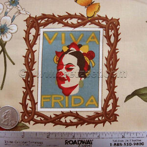 Alexander-Henry-VIVA-FRIDA-PARCHMENT-Frida-Kahlo-Mexico-Mexican-Fabric-by-Yard