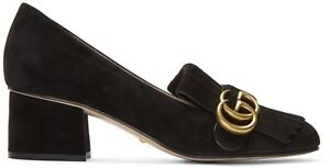 972acc84dba GUCCI Marmont GG Fringe Black Suede Loafer Mid Heel Pumps Size ...