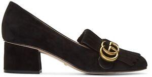 85a9d351b GUCCI Marmont GG Fringe Black Suede Loafer Mid Heel Pumps Size ...