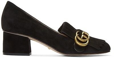 f77f126a4 Details about GUCCI Marmont GG Fringe Black Suede Loafer Mid Heel Pumps  Size 37.5