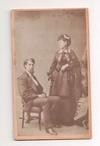 Vintage-CDV-Osbert-Clark-amp-Wife-Anne-E-H-Canfield-Photo-Milwaukee-WI