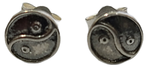 Ying Yang Stud Post Earrings Small 925 Sterling Silver