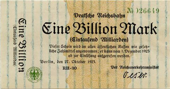 Germany 1 Billion Mark 1923 Reichsbahn No026649 Berlin