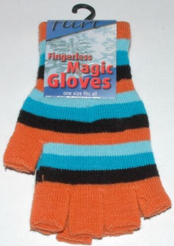 Striped  Choice of Colours Flirt Fingerless Magic Gloves One Size Fits All