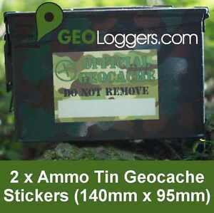 2-x-NEW-GEOLoggers-AMMO-TIN-Geocache-Container-Camo-Stickers-Waterproof